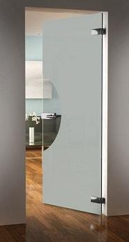 Drzwi szklane uchylne bez ościeżnicy piaskowane 7